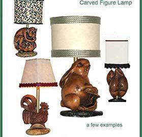 Carved Wood Base Lamps G-L-07