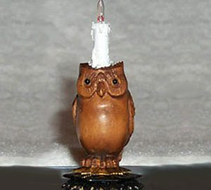 Tall Owl Lamp with Candle